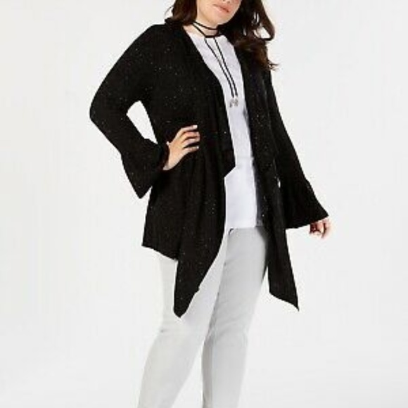 Style & Co Sweaters - Style & Co Ruffled Sleeve Open Front Cardigan